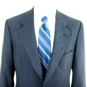 Brooks Brothers 38R 2 Button Glen Plaid Blue Wool